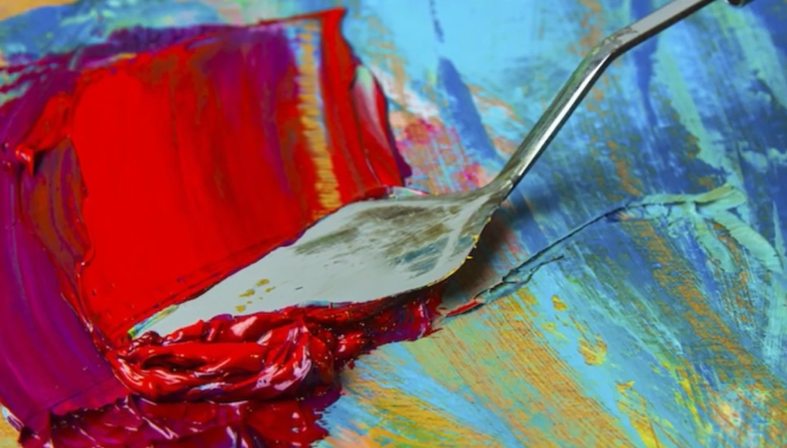 palette knife smudging paint
