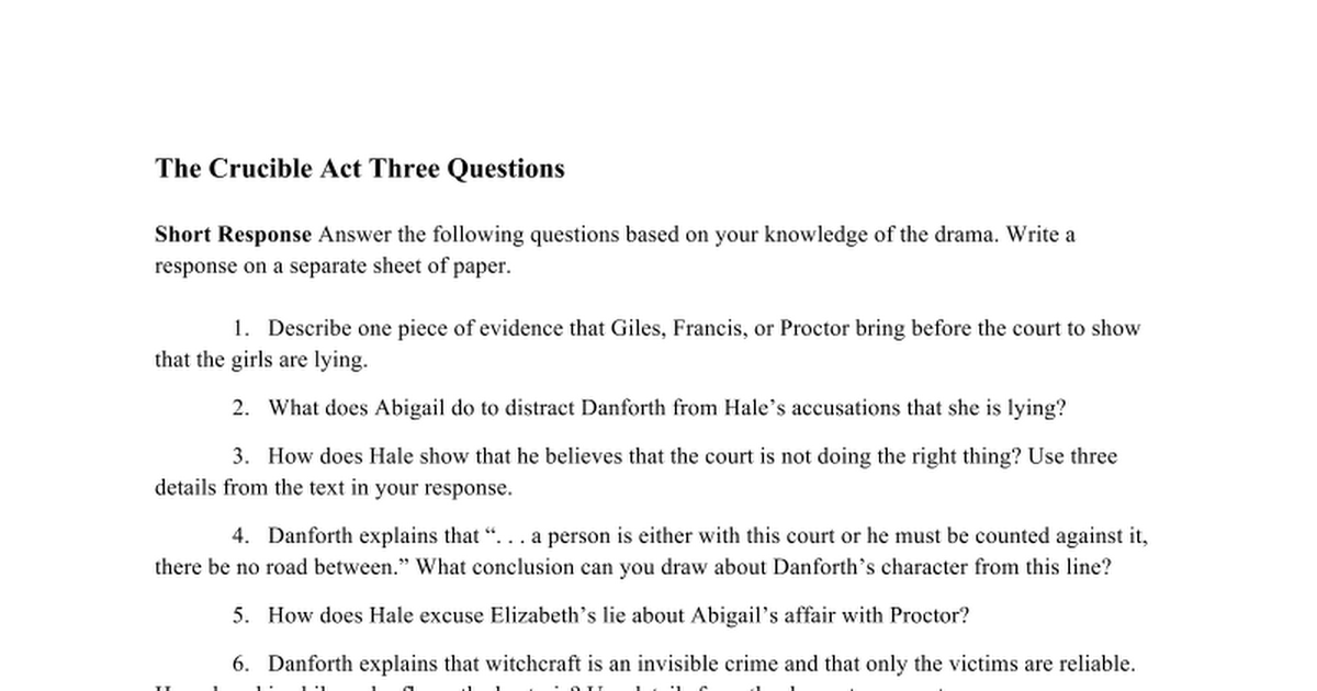 the crucible act one essay questions Start studying crucible study guide questions act 1 learn vocabulary, terms, and more with flashcards, games, and other study tools.