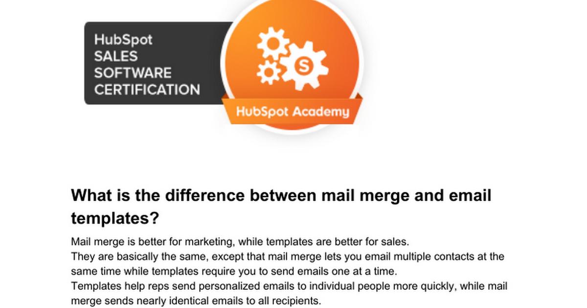 Hubspot Sales Software Certification Exam Answers 2018 Google Docs