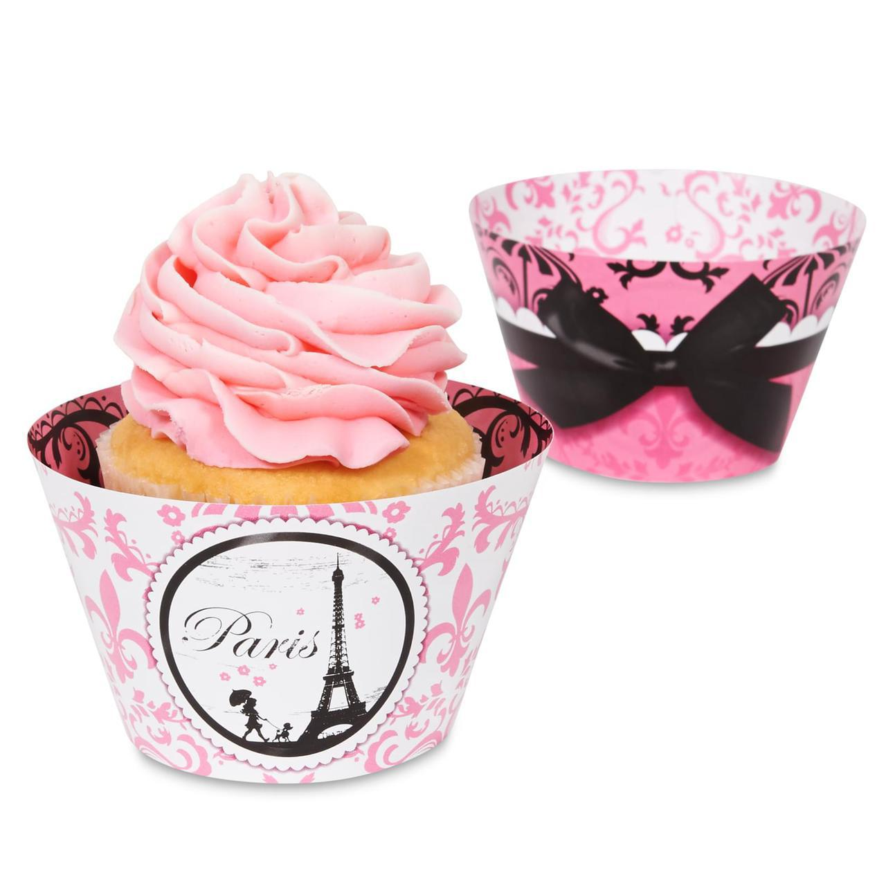Cupcakes with Paris damask wraps