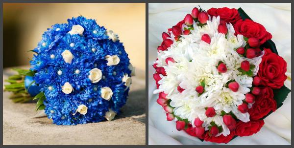Свадебные букеты с хризантемами