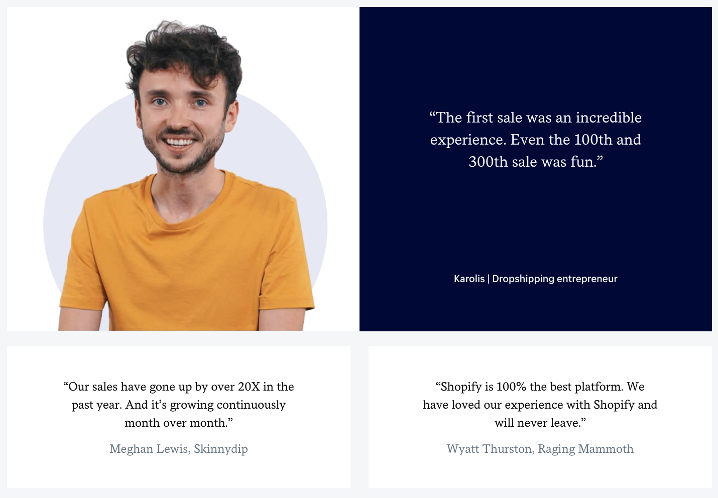 Shopify shows B2B testimonials from entrepreneurs and business owners.