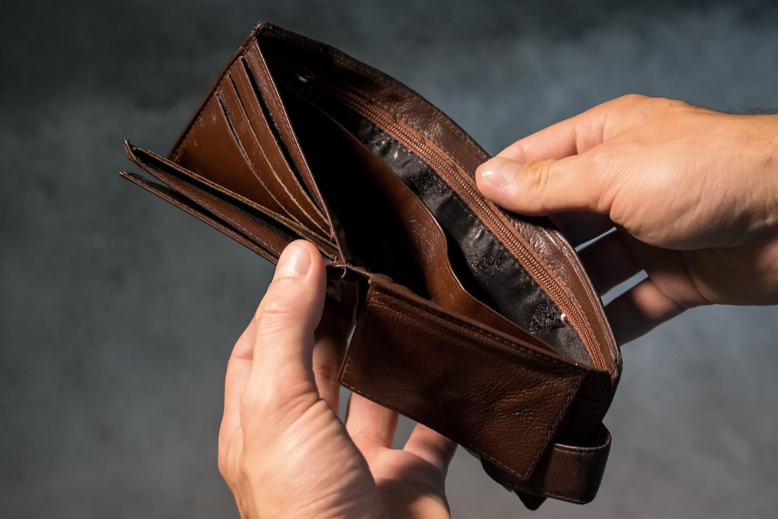open empty leather wallet