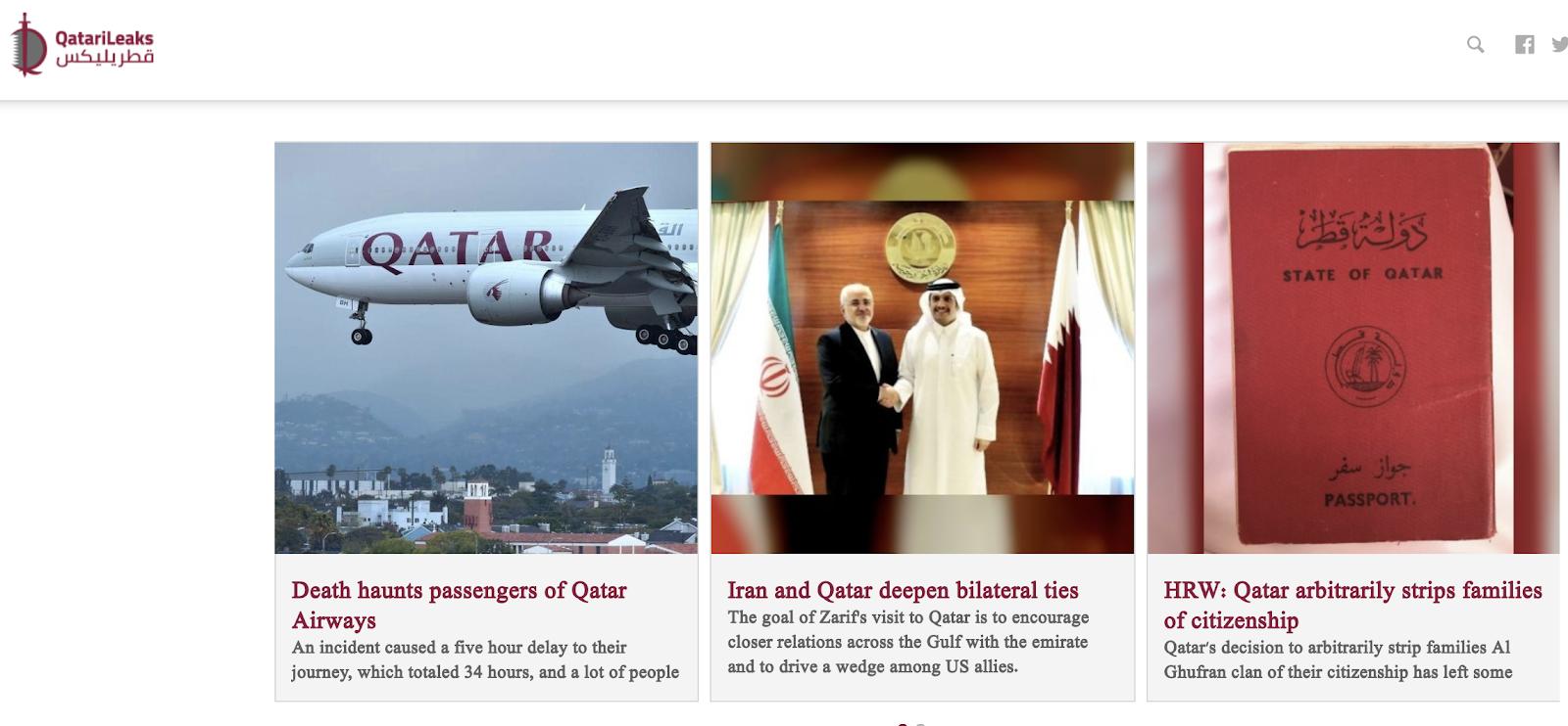 A screenshot of Qatarileaks.com/en, as seen on September 24, 2019.