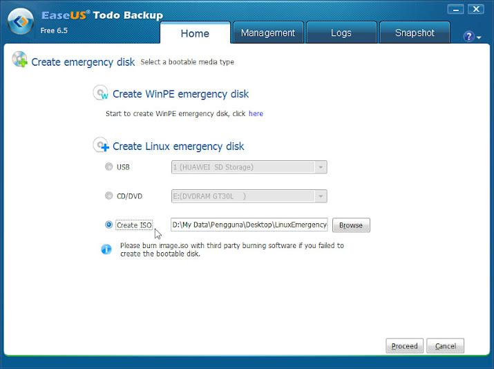 EaseUS Todo Backup Free > Create Emergency Disk
