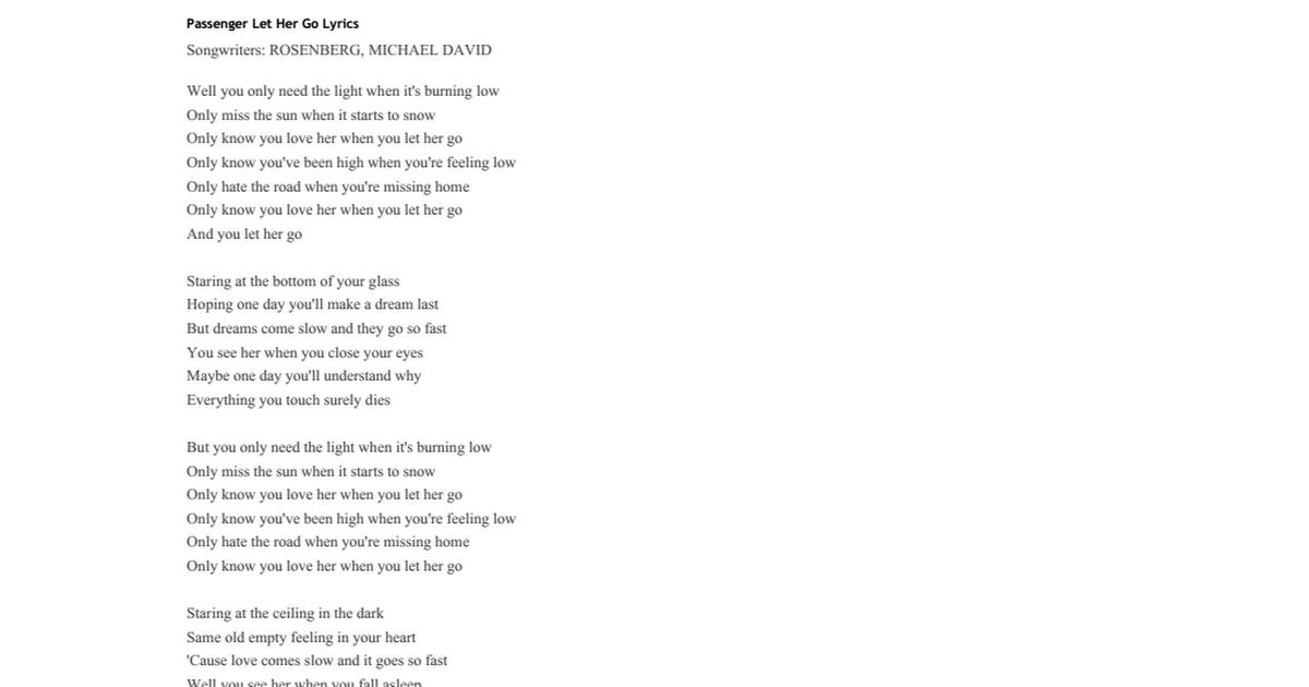 lyrics of let her go by passenger
