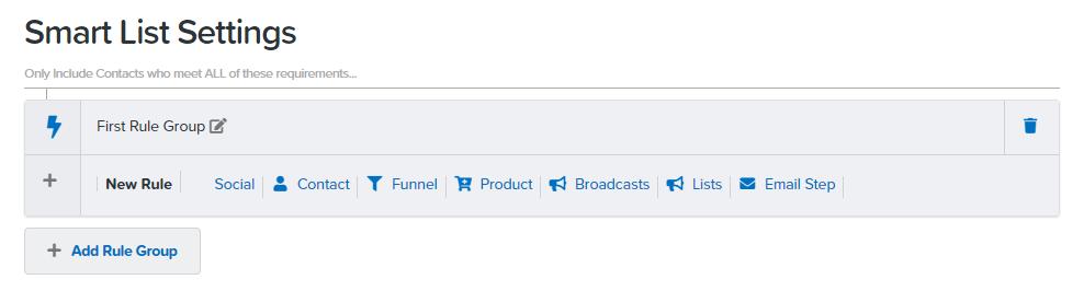 Smart list settings in ClickFunnels