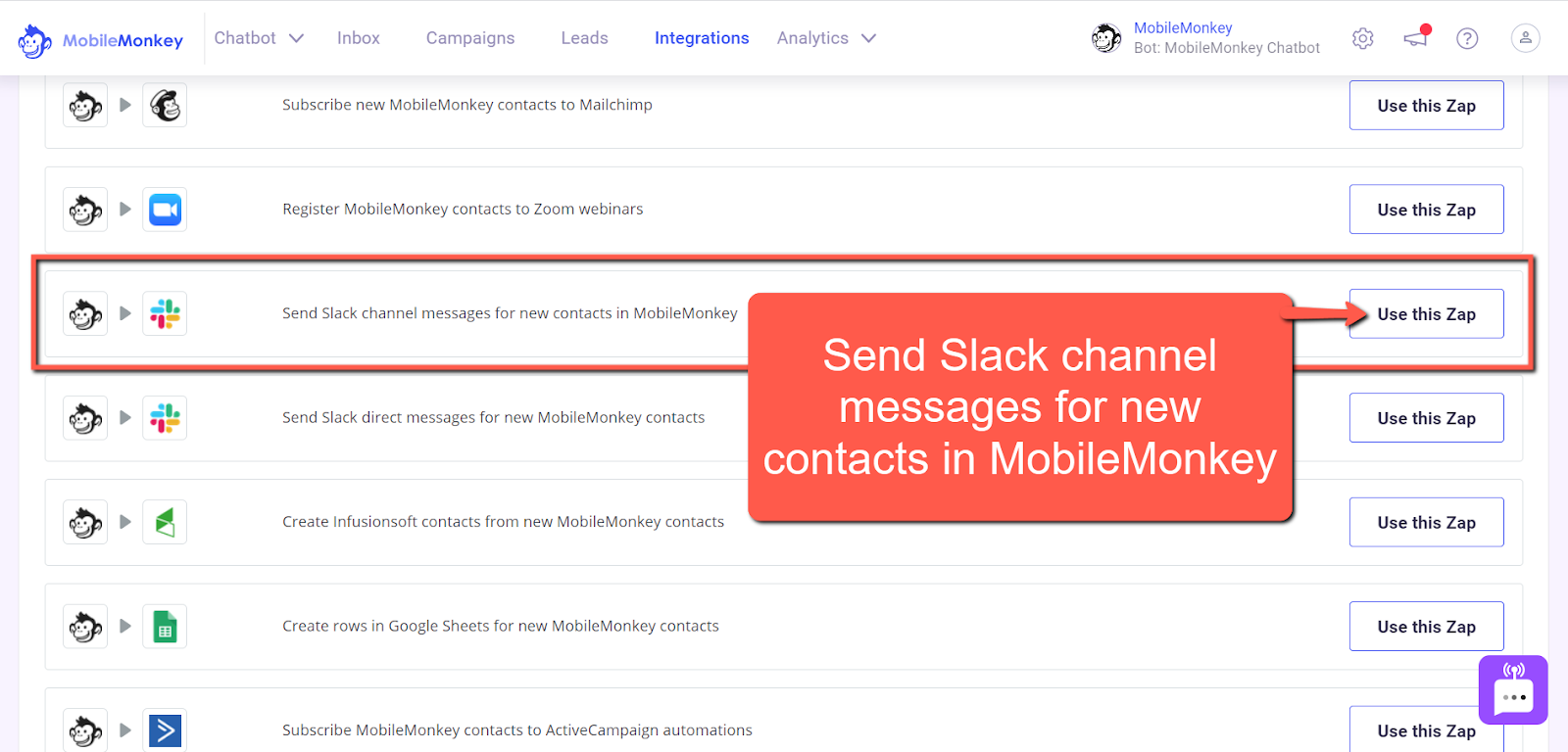 Send Slack channel messages for new contacts in MobileMonkey