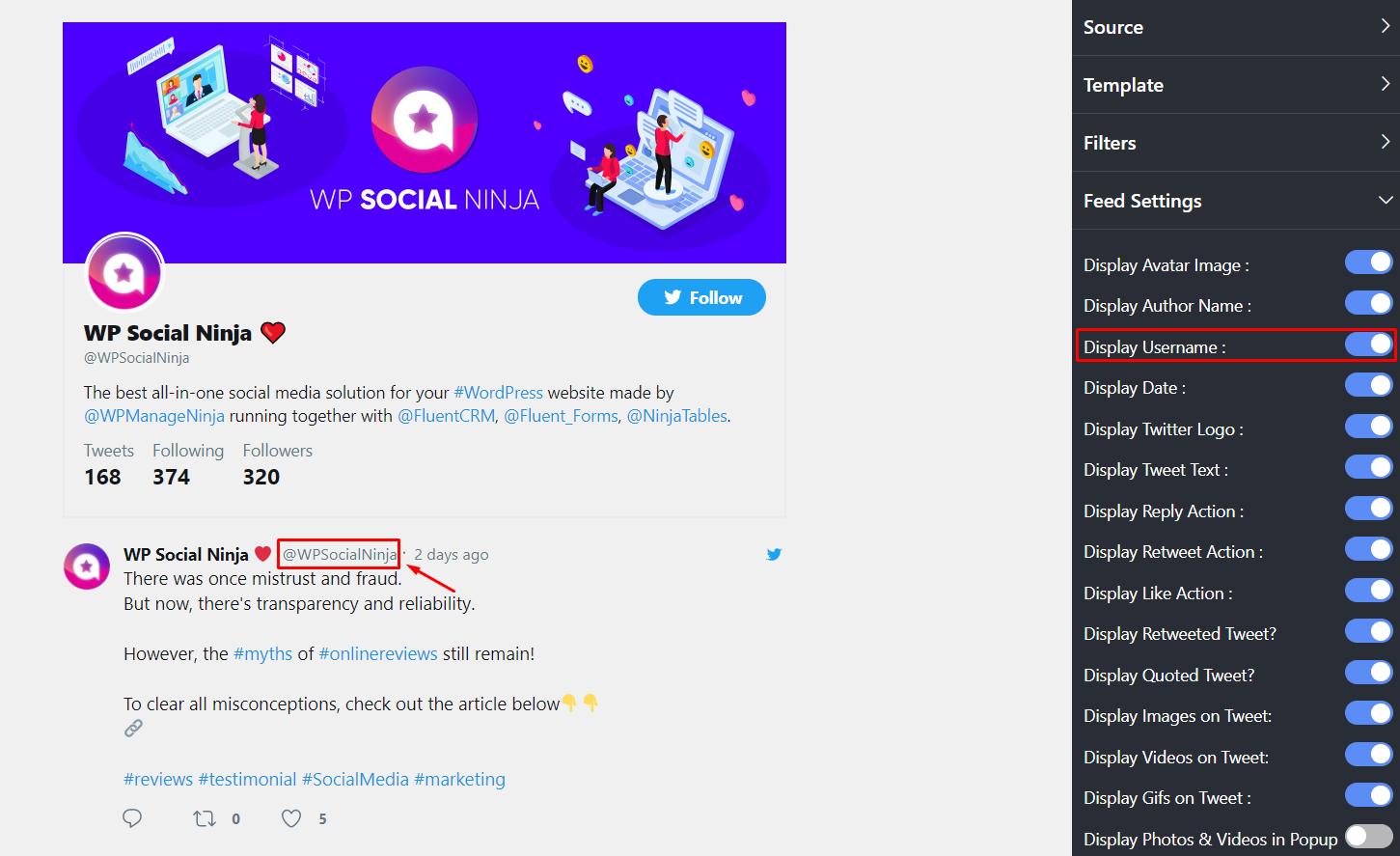Twitter settings display username