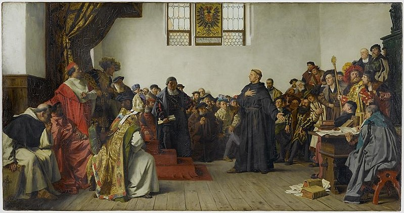 Dramatized painting of Luther holding forth at the Diet of Worms.