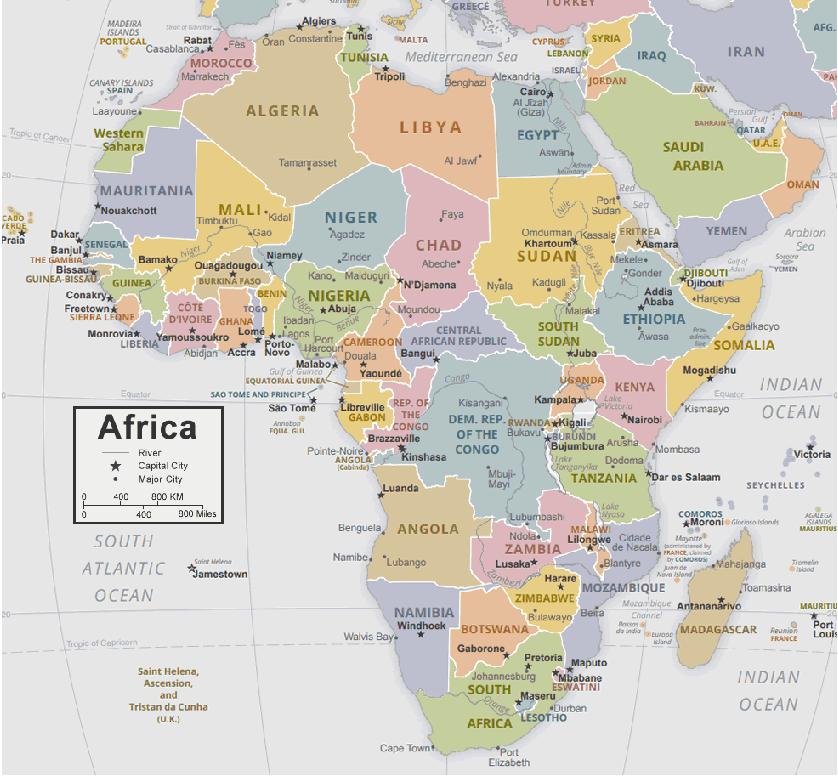अफ्रीका महाद्वीप का नक्शा