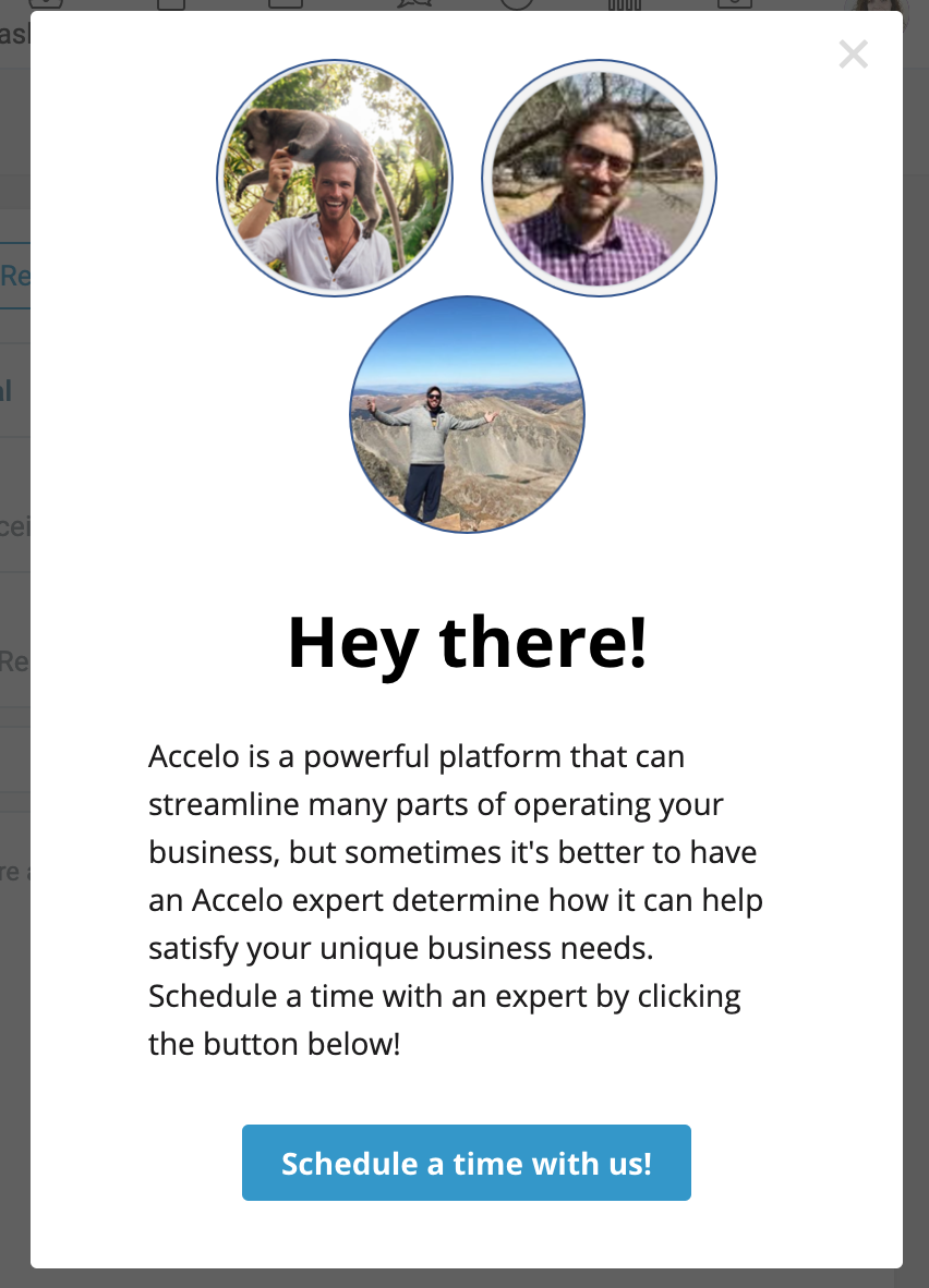 Accelo invites you to schedule a call in a bid to start reducing churn early