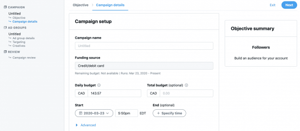 setting up your twitter ads campaign