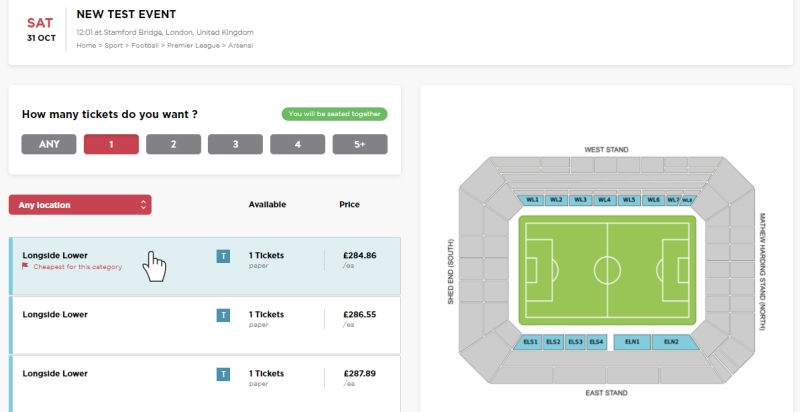 Hover effect that highlights different sections on the stadium map when a user hovers over one of the ticket listings. CobbleWeb UX improvement for FanPass marketplace.