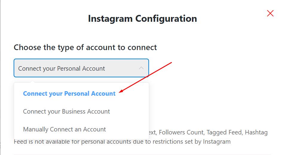 Instagram configuration-personal account