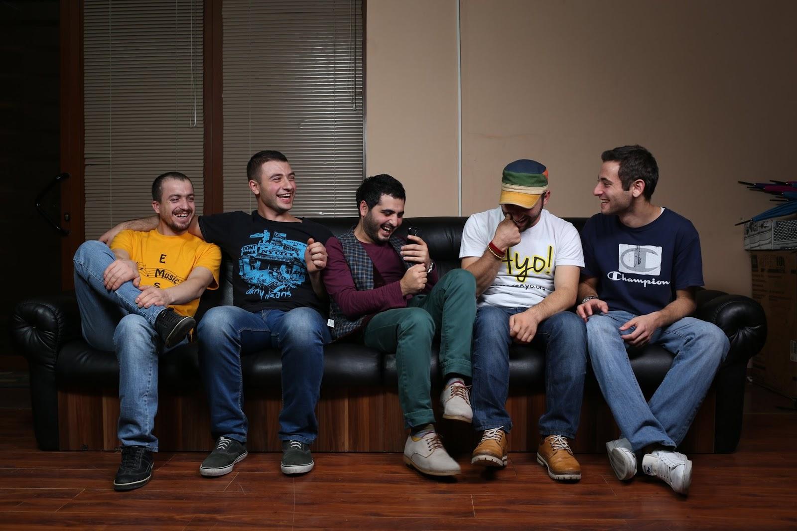 The band (L-R): Gurgen Ebejyan, Arman Peshtmaljian, Miqayel Voskanyan, Movses Ebejyan, and David Melkonyan. (Photo courtesy of the MVF Band)