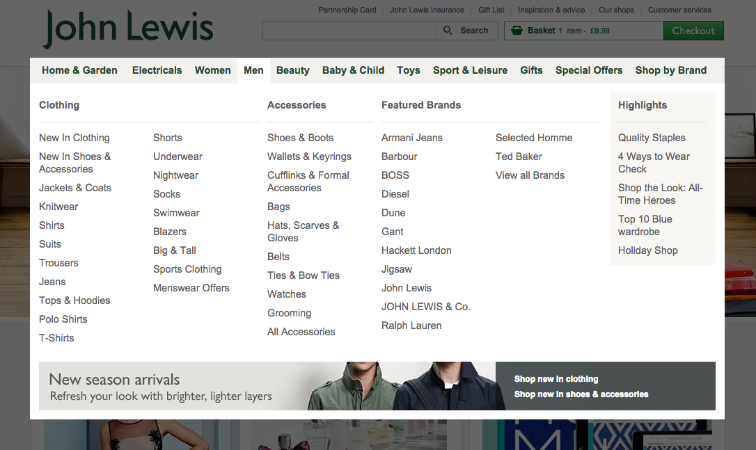 john lewis drop down