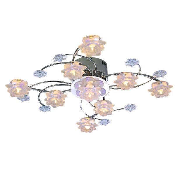 Đèn chùm trang trí mâm ốp trần hoa thủy tinh kiểu Ý Venus 6809/9