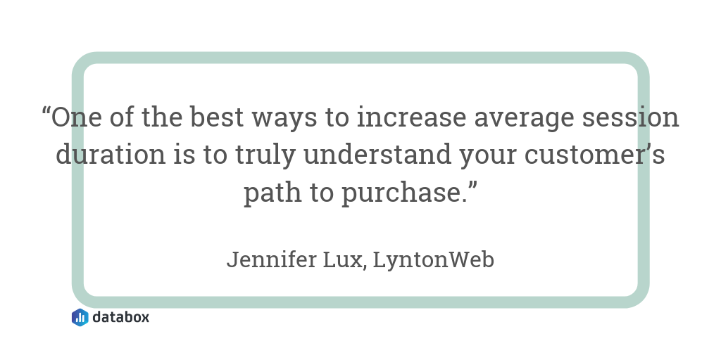 """""""One of the best ways to increase average session duration is to truly understand your customer's path to purchase."""""""