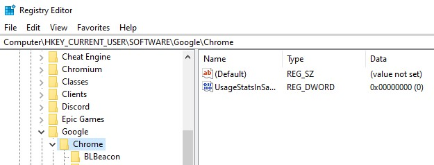 The Current User Chrome directory in the Registry Editor