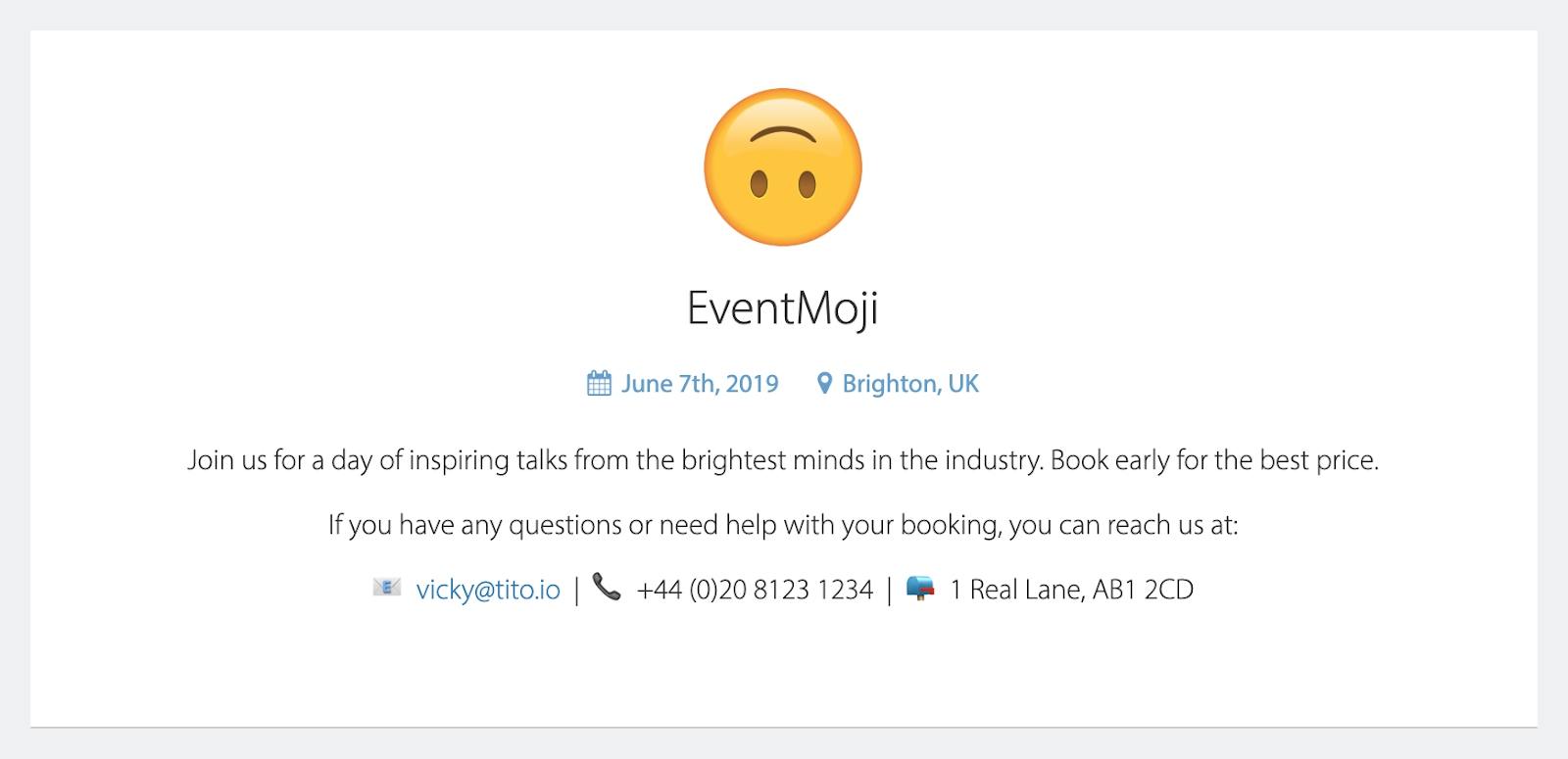 Email, phone number and postal address with corresponding emoji