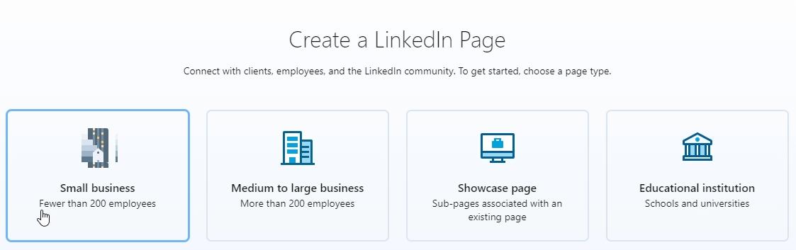 Create a LinkedIn Page options