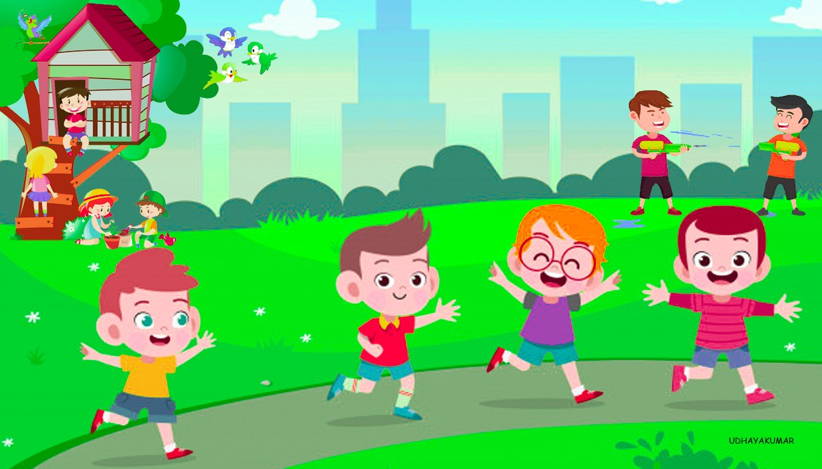 cartoon of children having a happy day