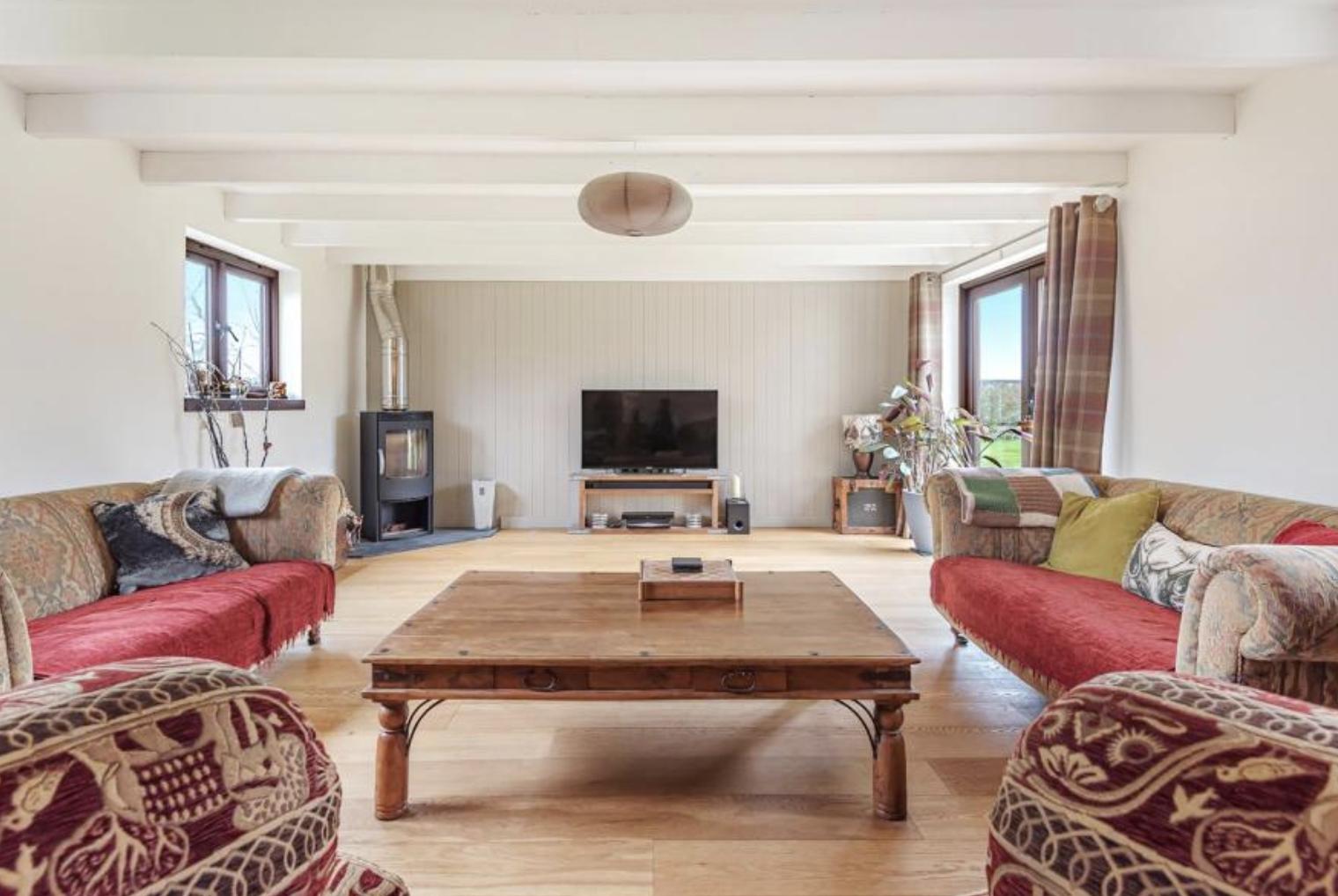 Living room at Trannack Farm