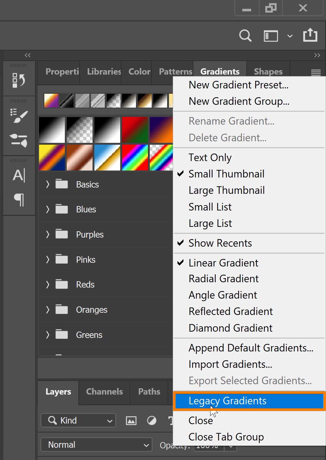 Click on Legacy Gradients and More.