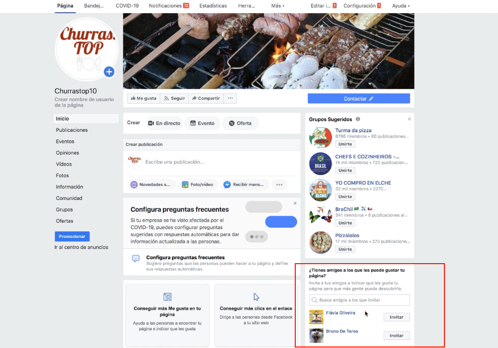 adicionando amigos na página do facebook