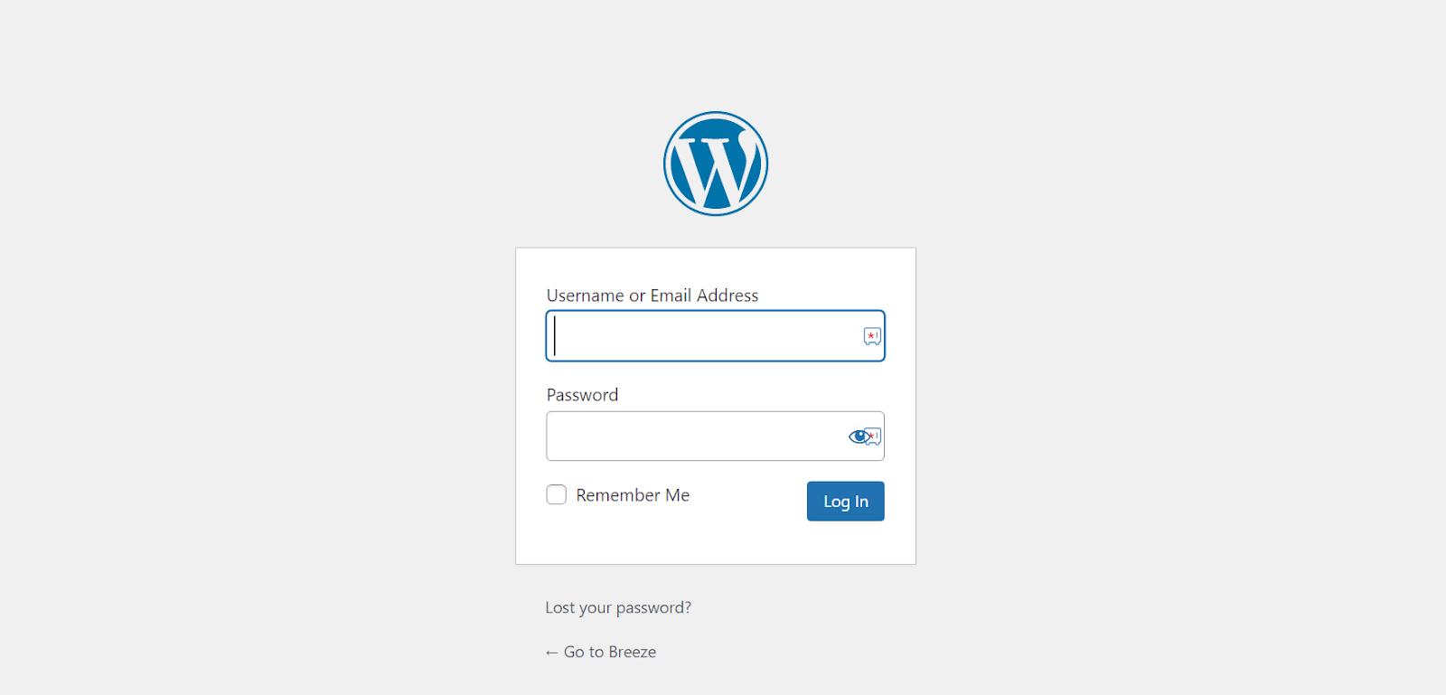Login Screen WordPress
