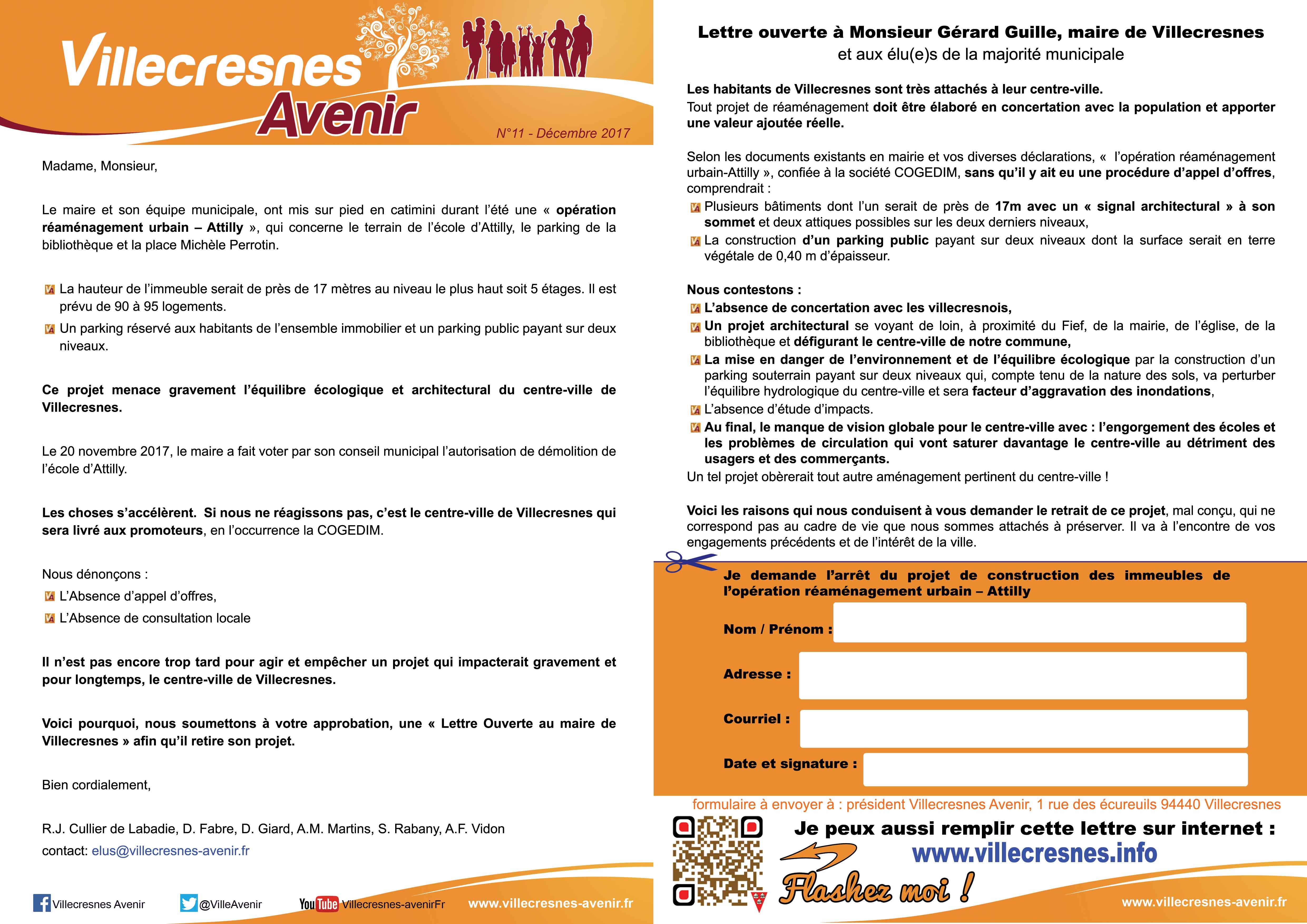 """Document qui présente la pétition / lettre ouverte sur www.villecresnes-avenir.fr rubrique """"Nos publications"""""""