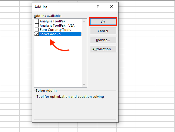 excel solver add-in to use solver in excel