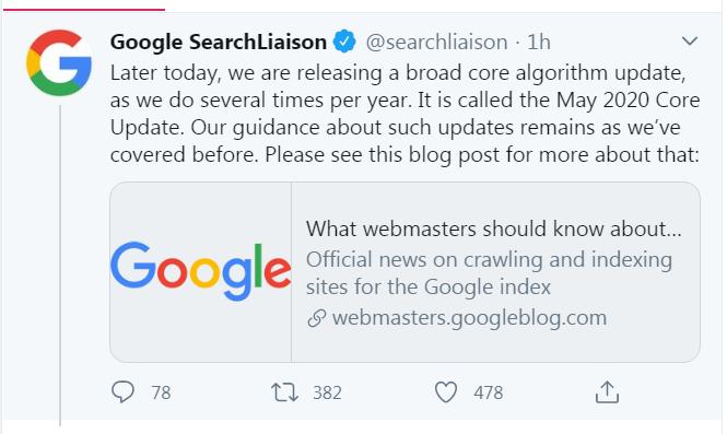 официальный анонс обновления алгоритма Google