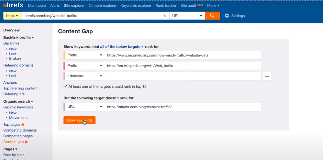 Ahrefs Content gap tool