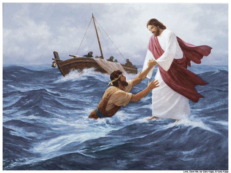 Jesus rescues Peter as he sinks