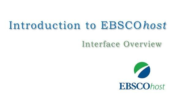Image result for introduction to ebscohost - tutorial