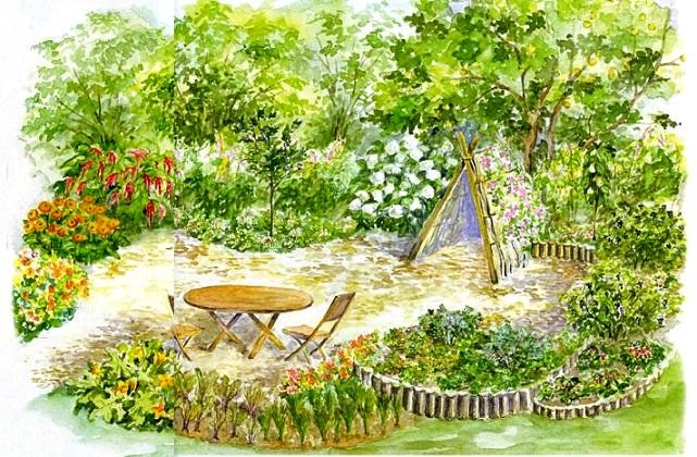 План участка цветника на даче с ягодами и цветами