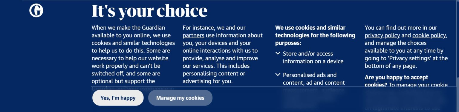 Cookie consent banner - The Guardian