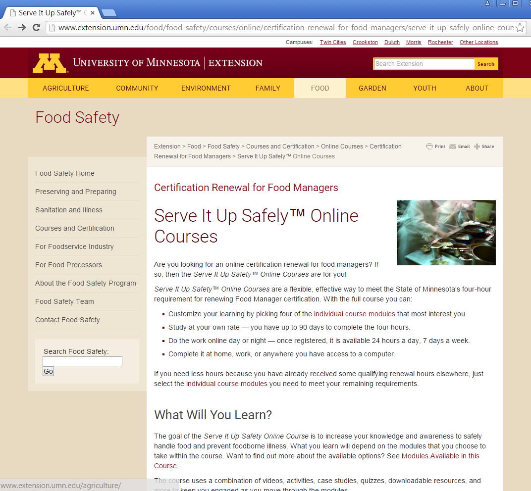 Image of Serve It Up Safely Online Course website