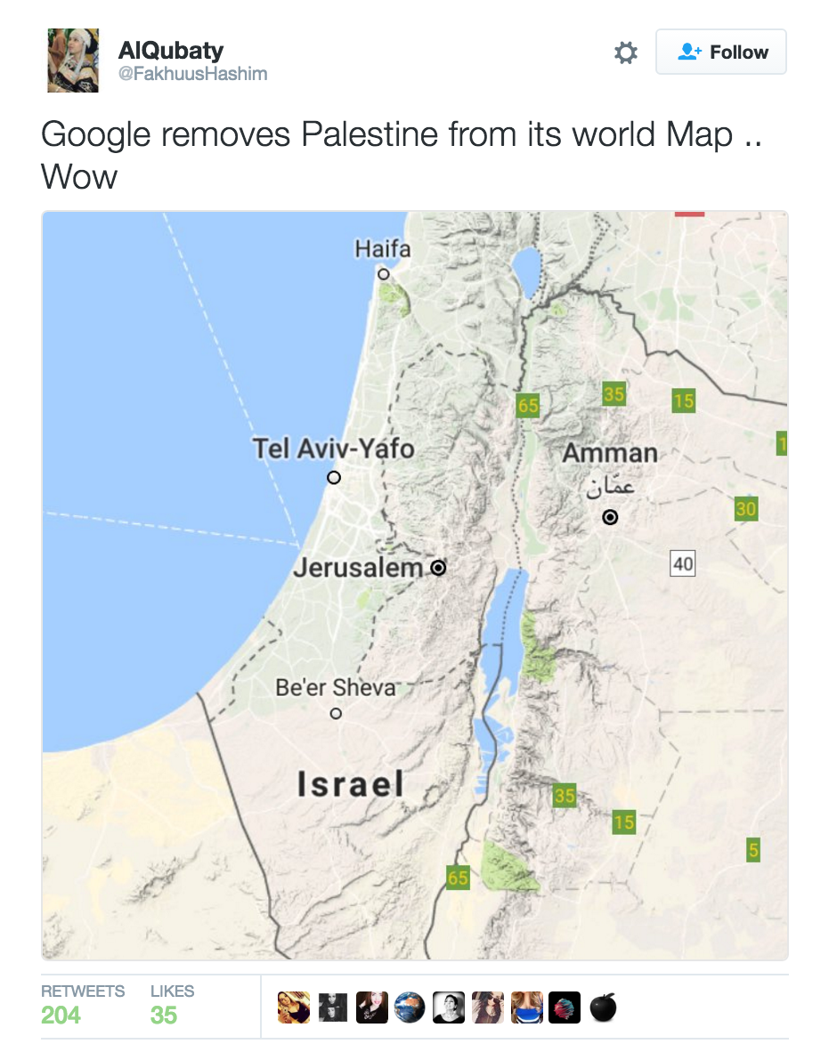 Palestine Missing From Google Maps, Twitter Responds With ...