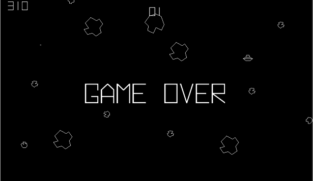 "The ""Game Over"" screen from the old arcade video game Asteroids."