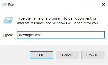 The Run tool window with Device Manager command in the open field