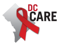 text DC CARE with District outline and red ribbon