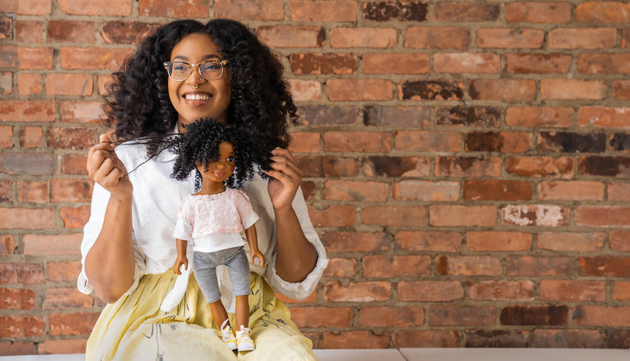 Yelitsa holding her Healthy Roots Doll