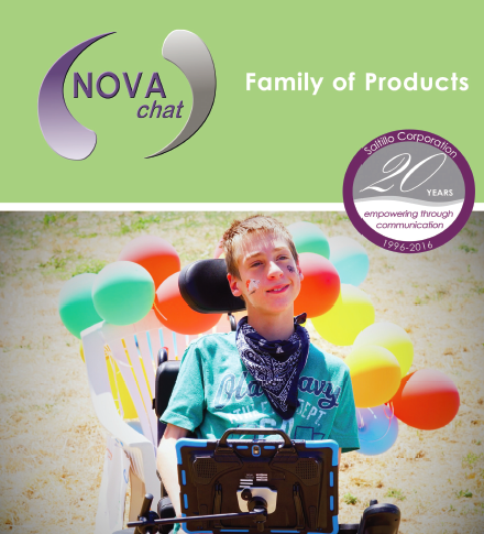 NOVA Chat family of products with boy in wheelchair using NOVA chat