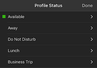 Set Status Menu Options on 3CX App for iOS