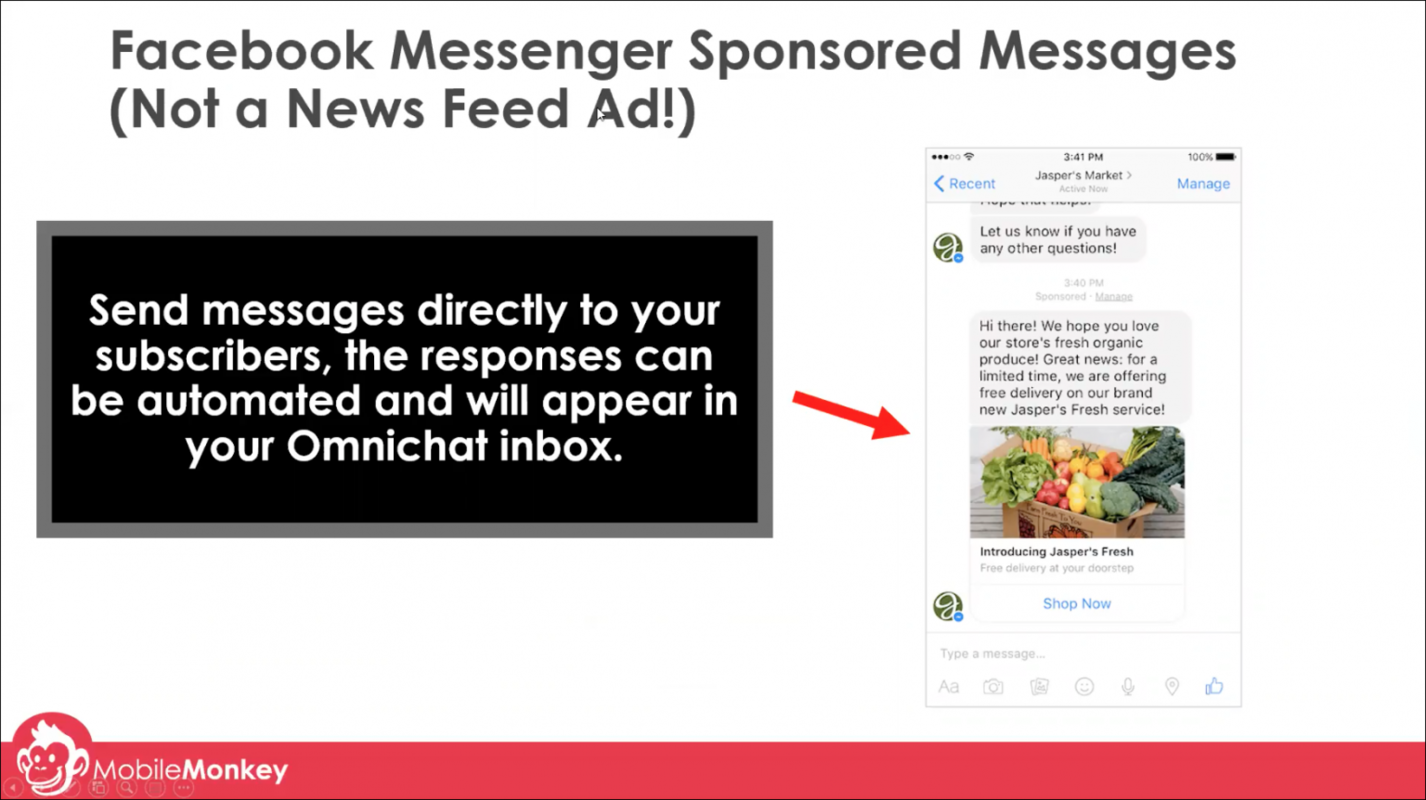 web chat examples - Facebook Messenger ads