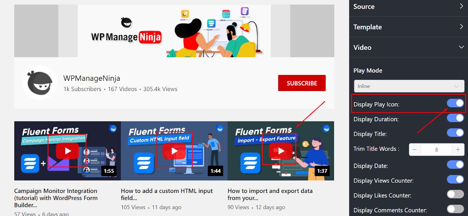 YouTube settings play icon