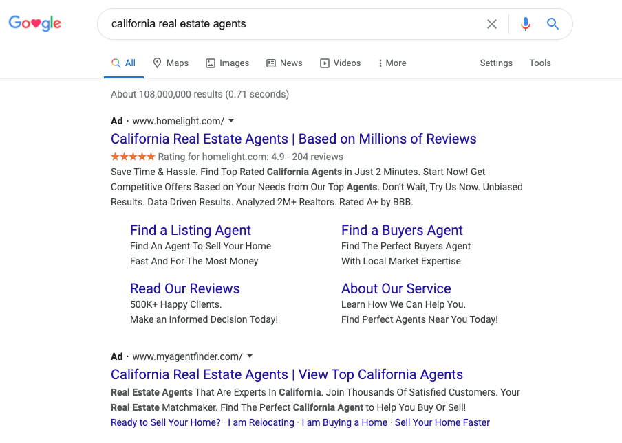"Example of ad search results for the keyword ""california real estate agents"""